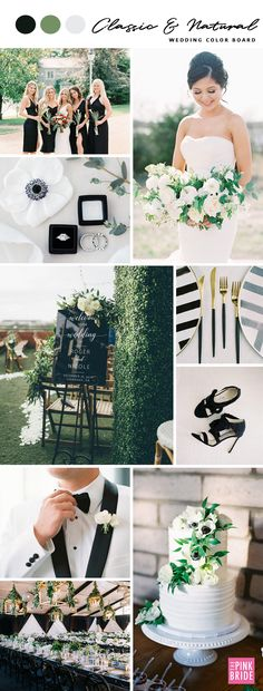 Classic & Natural Wedding Color Board - The Pink Bride Classic & Natural Wedding Color Board Inspiration Black Wedding Themes, Navy Wedding Flowers, Gold Wedding Colors, Wedding Color Schemes, Wedding Decor, Wedding Ideas, Rustic Wedding, Wedding Venues, Wedding Planning