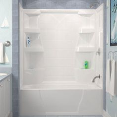ASB Firenze 32 in. x 60 in. x 61-1/2 in. Three Piece Direct-to-Stud Tub Wall in White-39514 at The Home Depot