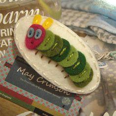 My little green Caterpillar wool felt hair clip ecru by MayCrimson, $6.00
