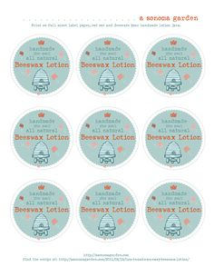 Adorable free printable labels for homemade beeswax lotion. Recipe included. This makes and easy, frugal gift.