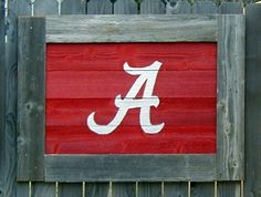Alabama A on salvaged fence boards