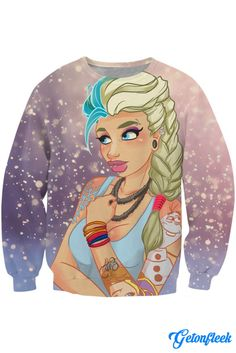Elsa Punk Crewneck - Shop our entire collection of all-over-print apparel! www.getonfleek.com