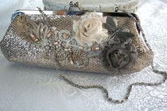 VINTAGE GLAMOUR romantic Victorian, vintage inspired embellished lace and metallic clutch purse with chain, one of a kind Jewelry Art, Antique Jewelry, Jewelry Design, Clutch Purse, Coin Purse, Handmade Lampshades, Lace Bag, Beaded Bags, Vintage Purses