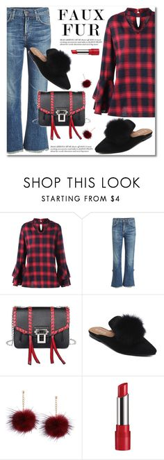 """""""Wow Factor: Faux Fur"""" by fshionme ❤ liked on Polyvore featuring Citizens of Humanity, Rimmel and fauxfur"""