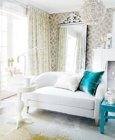 this perfect. glam beach fantasy. glowing. glamorous white, gold and teal room