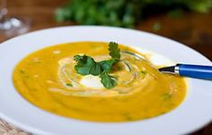 Carrot and Coriander Soup : Recipes from Ocado Carrot And Coriander Soup, Carrot Soup, Parsnip Soup, Fresh Coriander, Vegetarian Thanksgiving, Thanksgiving Recipes, Winter Recipes, Soup Recipes, Vegetarian Recipes