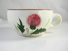 Vintage cup, hand painted, Stangl pottery, made in the USA - Thistle.