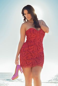 plus size little red lace dress