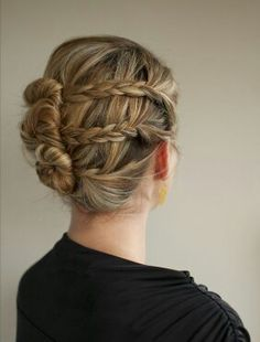 pleats into mini buns arranged like a chignon on multi tonal warm to cool and light to dark gold range blonde hair