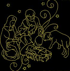 NATIVITY REDWORK 4x4  An elegant nativity design for Christmas. Mary, Joseph and baby Jesus in the manger. $ 2.00