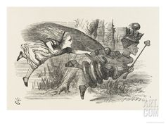 Alice and the Red Queen Fly Hand-In-Hand Giclee Print by John Tenniel at Art.com
