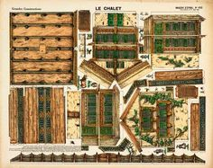 The Chalet paper model. Reprint of an original antique Grandes Constructions from Pellerin's Imagerie D'Epinal. Printed on card stock.