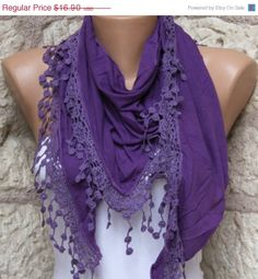 Purple Tricot Scarf Spring Summer Shawl Scarf Cowl by fatwoman