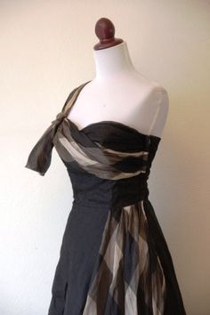 Vintage 1950s Black Chiffon Party Dress with by RetroKittenVintage, $155.00