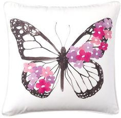Embroidered Whimsy Pillow Cover, Butterfly, 18 X 18 Pink Throw Pillows, Diy Pillows, Decorative Pillows, Loro Animal, Butterfly Pillow, Girls Bedroom Furniture, Butterfly Decorations, Butterfly Painting, Painted Clothes