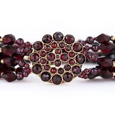 18 Karat Beaded Garnet Bracelet victorian jewelry
