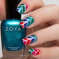 manicurator: Zoya Paradise Sun Summer 2015 Herringbone Nail Art