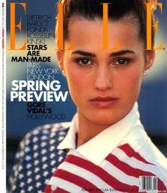 Yasmin - Elle Feb 1990 by Gilles Bensimon Fashion Magazine Cover, Fashion Cover, Magazine Covers, Amber Le Bon, Gore Vidal, Yasmin Le Bon, Linda Evangelista, Princess Caroline, Elle Magazine