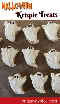 Rice Krispie treats are a perennial favorite. Why not make a fun ghost shape for Halloween? Cut out your ghosts, and decorate with white frosting and chocolate chip eyes. Easy! #halloweenricekrispietreatideas #halloweenricecrispytreats #cute halloweenricekrispietreats #ghosthalloweenricekrispietreats #easyhalloweenricekrispietreats #halloweenricekrispietreatsforkids Halloween Cut Outs, Easy Halloween, Rice Krispie Treats, Rice Krispies, Halloween Rice Crispy Treats, Chocolate Chip Frosting, Whole Food Recipes, Dessert Recipes, White Frosting