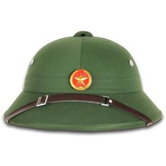 """North Vietnamese Army Vietcong Pith Helmet: These are new, military spec Vietnam War Era Vietcong National Liberation Front pith helmets with a red star metal helmet badge. Hat has an adjustable faux leather chinstrap and canvas liner. Although not true pith or cork it is still very lightweight and sturdy. A nice, affordable addition to your military memorabilia collection. Adjustable headband, fits 7-7-3/8"""" head size."""
