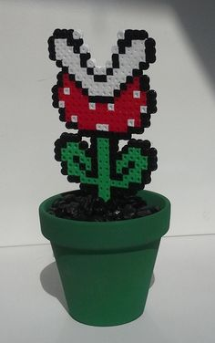 Mario Piranha Plant with Hamma Beads Perler Beads, Perler Bead Mario, Pixel Art, Art Perle, Fusion Beads, Iron Beads, Melting Beads, Geek Crafts, Perler Patterns