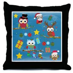 sold at @CafePress : #Christmas #Owls Throw #Pillow Cute colorful christmas Owls, gifts and stars! The Background is blue and decorated with snowflakes! Artwork by Cherryclipart  $18.39  thanks to the customer!