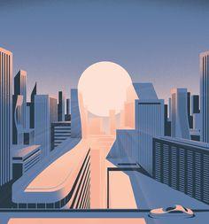 """3,229 Likes, 70 Comments - Sébastien Plassard (@sebastienplassard) on Instagram: """"L'optimisme pour @lesechosweekend #optimism #illustration #architecture #buildings #city #sun…"""""""