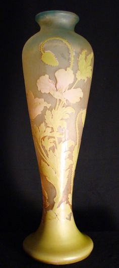 French Art Nouveau Galle Cameo Glass Vase