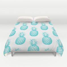 Teal Pineapple Duvet Cover by cumulusfactory Girls Bedroom, Bedroom Decor, Bedroom Ideas, Bedrooms, Pineapple Room Decor, Pineapple Express, Pineapple Fruit, Pineapple Quotes, Pineapple Girl