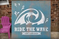 Ride the Wave Surfing Sign, Re-use Recycled Wood in Vintage Surf Graphic Surf Design Style, Gallery Framed Stained Wood,  48 x 48 inches