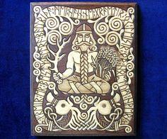 Freyr, fertility god, with inscription in Runes wood plaque Elder Futhark, Old Norse, Viking Tattoos, Celtic Art, Norse Mythology, Wood Plaques, Dark Ages, Gods And Goddesses, Fertility
