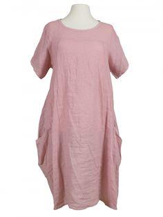 Damen Leinenkleid A-Form, rosa von Spaziodonna bei www.meinkleidchen.de