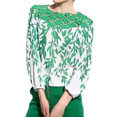 Women Lady Spring Summer European Style Chiffon Lace Embroidery Patchwork Long Sleeve Leaf Pattern Off shoulder Hollow Only Fashion, Fashion Looks, Womens Fashion, Trendy Clothes For Women, Blouses For Women, Green Lace, European Fashion, European Style, Floral Blouse