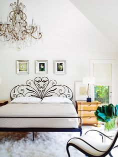 Fabulous Wrought Iron Bed With The Perfect Chandelier Southampton Ny By Lynne Scalo Design