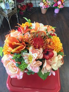 Spring cube arrangement by Andi At Silk Florals