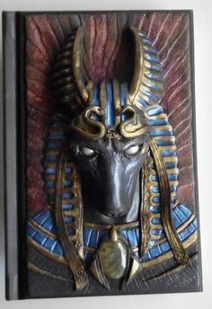 Notebook, journal, diary with polymer clay cover, egyptian god of death, anubis… Polymer Clay Painting, Polymer Clay Projects, Polymer Clay Creations, Handmade Polymer Clay, Polymer Clay Jewelry, Polymer Journal, Biscuit, Paper Clay, Journal Covers