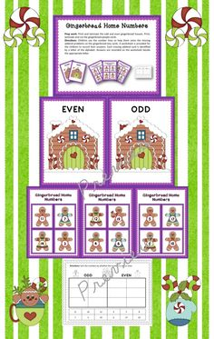 Gingerbread Home Numbers >> Odd and Even Number sorting >> Part of the Gingerbread Math Centers Bundle
