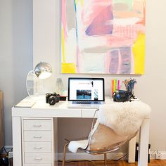 Teen Vogue - dens/libraries/offices - ghost chairs ikea, ikea ghost chairs, ghost chair ikea, ikea ghost chair, parsons desk, white parsons desk, west elm desk, slim file cabinet, white file cabinet, file cabinet under desk, abstract art, parquet wood floors, ikea rens sheepskin,