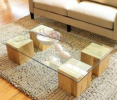 Make a glass top coffee table in this week's do-it-yourself project - Full tutorial for the cubes - easy & cheap!