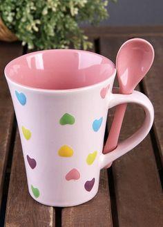 5 Çayı Porselen Kalp Dekorlu Kaşıklı Lüx Büyük Kupa Online Satın Al   5 Çayı   Markafoni