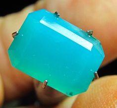 4 ct Rare GEM Natural Silica Chrysocolla Ray mine az 11 x 8mm Emerald Cut Beauty