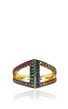 Rhombus Pinkie Ring in 18K Gold set with various stones by Noor Fares for Preorder on Moda Operandi