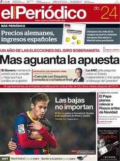 Los Titulares y Portadas de Noticias Destacadas Españolas del 24 de Noviembre de 2013 del Diario El Periódico ¿Que le pareció esta Portada de este Diario Español?