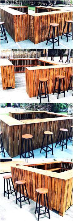 repurposed wooden pallets bar plan