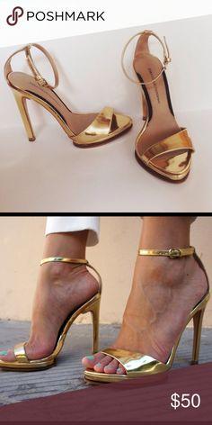 Zara gold ankle strap heels