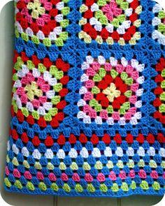 granny squares blanket ~ love the border rows