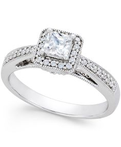 Diamond Princess Cut Milgrain Engagement Ring 1 2 Ct Tw In