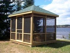 Screen Houses Kostenlose Pavillon-Pläne - wie man einen Pavillon baut. Das Dach des quadratischen Pavillons zu bauen, ist eine andere Geschichte, da es viel Handwer...