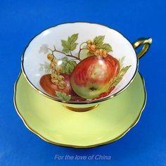 Stunning Yellow Fruit Design Pedestal Hammersley Tea Cup and Saucer Set