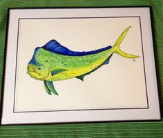 Ink and watercolor pencils. Mahi for my husbands office